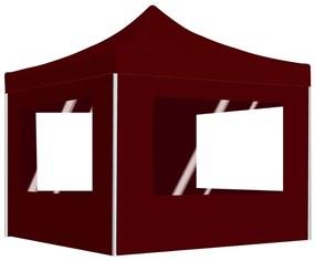 48933 vidaXL Tenda dobrável profissional com paredes alumínio 2x2 m bordô