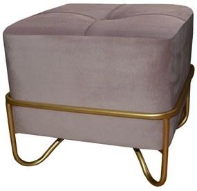 Banqueta DKD Home Decor Cor de Rosa Poliéster Espuma Metal Dourado Madeira MDF (42 x 42 x 38 cm)
