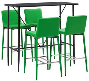 279866 vidaXL 5 pcs conjunto de bar couro artificial verde