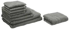 Conjunto de 9 toalhas cinzentas de algodão ATAI