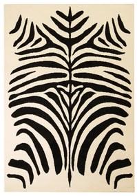 133030 vidaXL Tapete moderno com padrão zebra 160x230 cm bege/preto