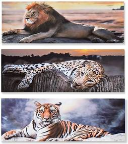 Pintura DKD Home Decor animais Colonial 90 x 1.8 x 30 cm (3 pcs)