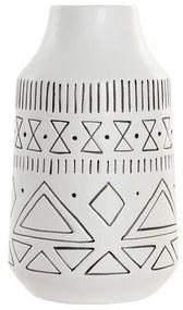 Vaso DKD Home Decor Branco Preto Porcelana Boho (12.2 x 12.2 x 20.5 cm)