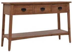 246122 vidaXL Mesa consola madeira de abeto maciça 126x40x77,5 cm castanho