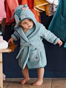 Roupão personalizável para bebé, Corça verde medio liso com motivo
