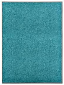 323460 vidaXL Tapete de porta lavável 90x120 cm azul ciano