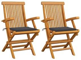 3062487 vidaXL Cadeiras de jardim c/ almofadões antracite 2 pcs teca maciça