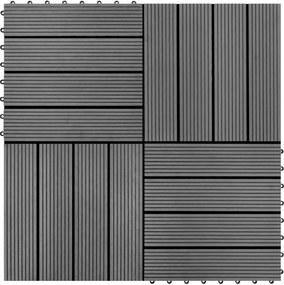 Ladrilhos de pavimento 22 pcs WPC 2m² 30x30 cm cinzento