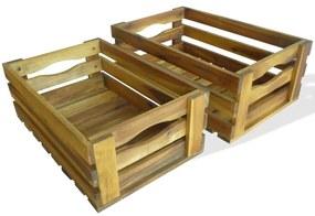 43791 vidaXL Conjunto de caixas para maçãs 2 pcs madeira de acácia maciça