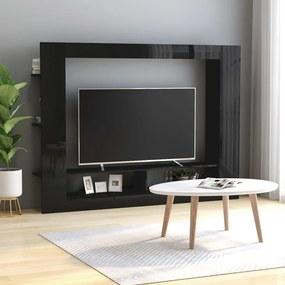 Móvel de TV 152x22x113 cm contraplacado preto brilhante
