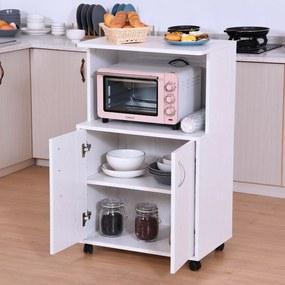 HOMCOM Aparador Auxiliar Sob Cozinha Móveis Auxiliares para Microondas com 4 Rodas (2 com travões) Armário com 2 Portas para Armazenamento 60,4x40,3x97cm