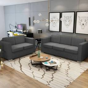 274214 vidaXL Conjunto de sofás, 2 pçs, tecido cinzento escuro