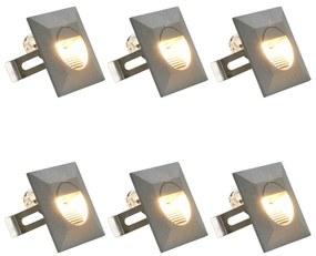 45656 vidaXL Iluminação LED de parede exterior 6 pcs 5 W quadrado prateado
