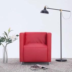 282142 vidaXL Poltrona em forma de cubo couro artificial vermelho