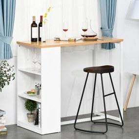 HOMCOM Mesa de bar Bistrô Mesa alta para jantar com 3 prateleiras Estrutura metálica Carga 100 kg 115x55x100 cm Branco e Carvalho
