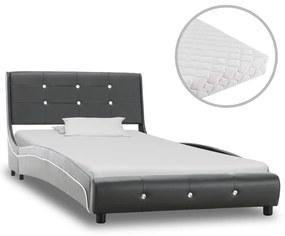 277579 vidaXL Cama com colchão 90x200 cm couro artificial cinzento