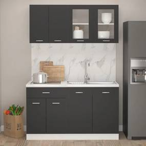3067657 vidaXL 4 pcs conjunto armários de cozinha contraplacado cinzento