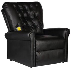 241672 vidaXL Cadeira de massagens couro artificial preto