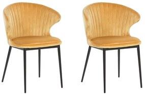 Conjunto de 2 cadeiras de jantar em veludo amarelo mostarda AUGUSTA