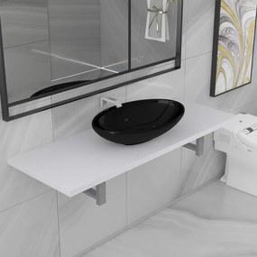 279361 vidaXL Conjunto de móveis de casa banho 2 peças cerâmica branco