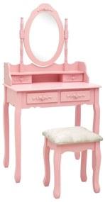 289315 vidaXL Conj. toucador com banco 75x69x140 cm madeira paulownia rosa