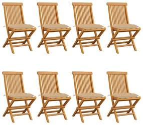3072935 vidaXL Cadeiras de jardim c/ almofadões bege 8 pcs teca maciça