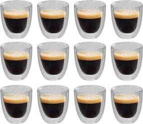 Copo de vidro duplo térmico para café 12 pcs 80 ml