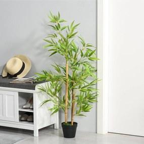 Outsunny Planta de Bambú Artificial no Vaso 120cm Planta Artificial Decorativa para Interior e Exterior Casa Sala de Estar Escritório Verde