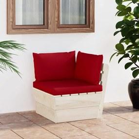 3063354 vidaXL Sofá de canto paletes p/ jardim com almofadões abeto impreg.