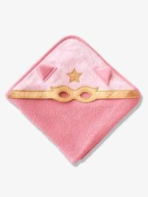 Capa de banho para bebé, Herói Mascarado rosa medio liso com motivo