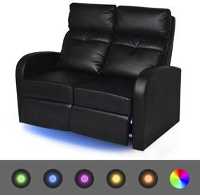 243599 vidaXL Poltrona reclinável LED 2 lugares, couro artificial, preto