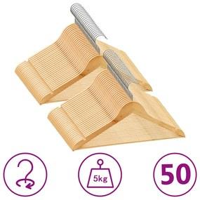289912 vidaXL 50 pcs conjunto de cabides antiderrapantes madeira