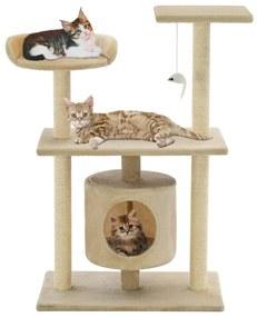 170514 vidaXL Árvore para gatos c/ postes arranhadores sisal 95 cm bege