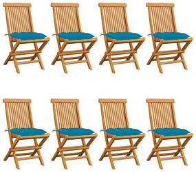 3072936 vidaXL Cadeiras de jardim c/ almofadões azul-claro 8 pcs teca maciça