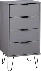 Armário c/ gavetas 45x39,5x90,3cm madeira pinho maciça cinzento
