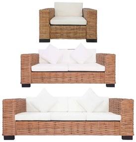 278624 vidaXL 3 pcs conjunto de sofás com almofadões vime natural