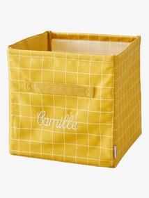 Caixa de arrumação em tecido estampado personalizável amarelo medio liso
