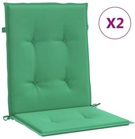 47556 vidaXL Almofadões para cadeiras de jardim 2 pcs 100x50x4 cm verde