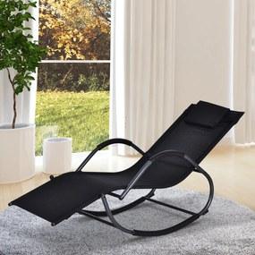Outsunny Espreguiçadeira de jardim Cadeira de balanço com apoio de braços 160x61x79 cm Preto