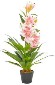 280164 vidaXL Planta lírio artificial com vaso 90 cm rosa