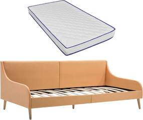 Sofá com colchão espuma de memória tecido laranja