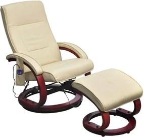 Cadeira massagens c/ apoio pés couro artificial creme