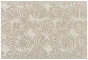Tapete de exterior 120 x 180 cm padrão folhas de palmeira bege KOTA