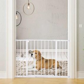 PawHut Barreira para Animais Barreira de Segurança Extensível Portas e escadas metálicas para cães e bebês Barreira de Porta 72-107x76cm