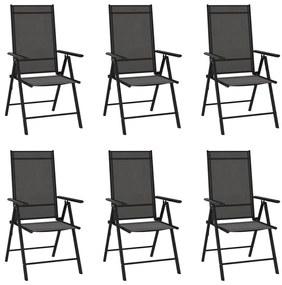 312179 vidaXL Cadeiras de jardim dobráveis 6 pcs textilene preto
