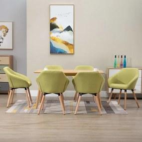 278422 vidaXL Cadeiras de jantar 6 pcs tecido verde