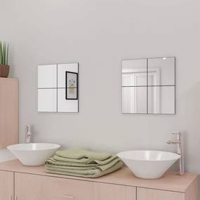 3051482 vidaXL Ladrilhos espelhados sem moldura 16 pcs 20,5 cm