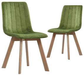 248204 vidaXL Cadeiras de jantar 2 pcs veludo verde