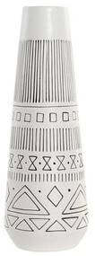Vaso DKD Home Decor Branco Preto Porcelana Boho (10 x 10 x 29 cm)