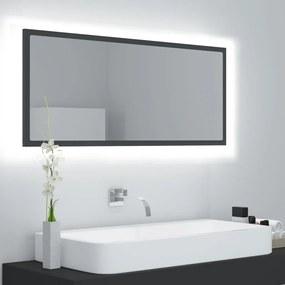 804942 vidaXL Espelho de casa de banho LED 100x8,5x37 cm contraplacado cinza